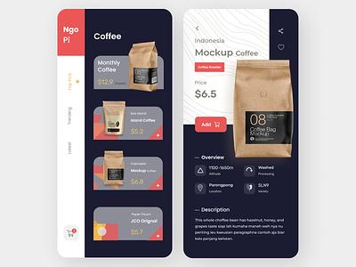 Coffee App branding typography ui ux minimal design app