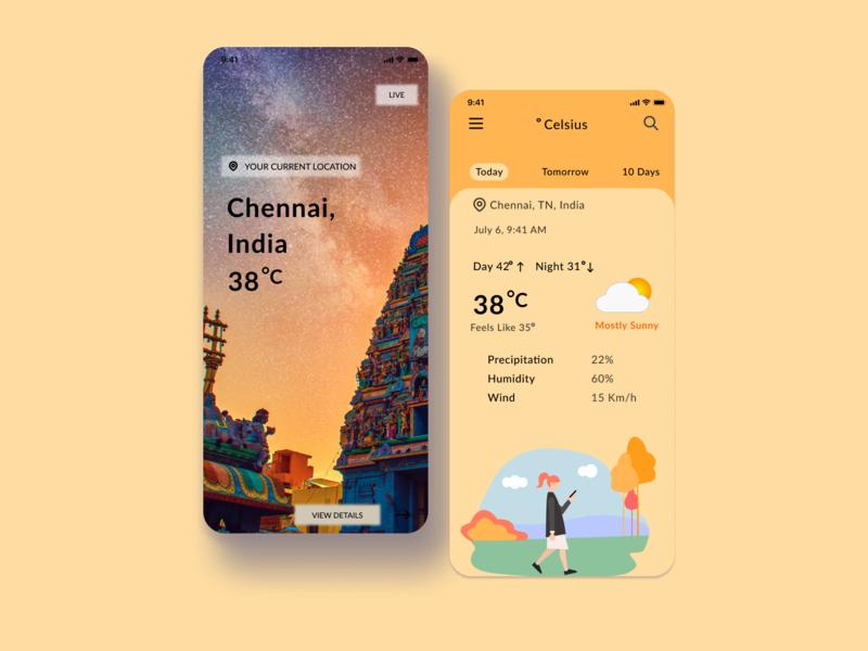 Weather App UI webdesign uxdesign uidesign india leh chennai illustration weather icons indian app uiux weatherapp weather figma design ui