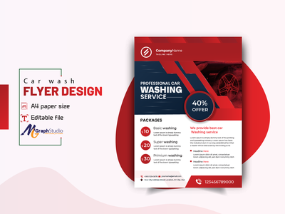 professional car washing and detailing service flyer design print design creative modern cleaning washing poster leaflet automobile services car cleaning detailing car washing