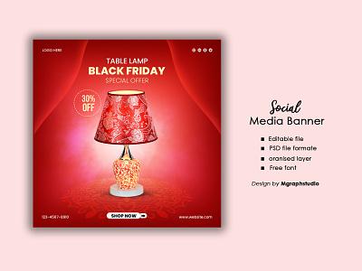 Bed Lamp promotional social media banner for black friday event lamp banner social media post