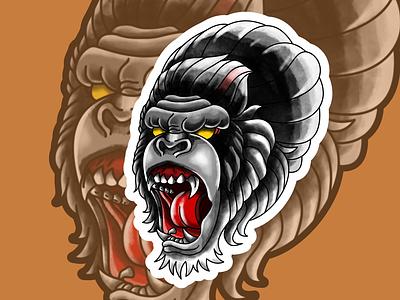 gorilla traditional tattoo tattoos design thsirt illustration tattoo art traditionaltattoo oldschool
