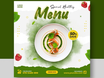 Healthy vegetable food recipe promotion social media post template