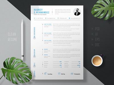 Modern & Minimal Resume Design Template employment advertising minimal new unique creative graphic design branding