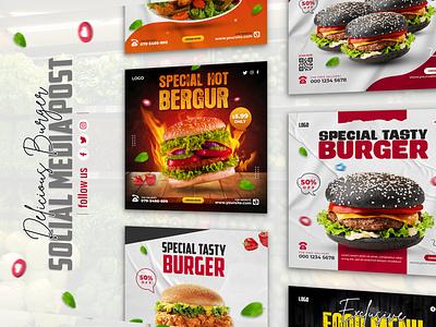 Delicious burger and food menu social media post delicious food