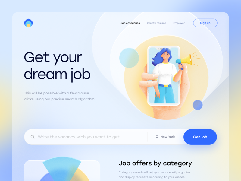 Get job type art graphic design flat minimal website design web ux ui