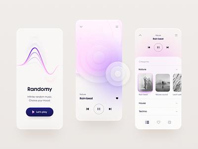 Random player flat mobile clean minimal graphic design design app touchflow ux ui