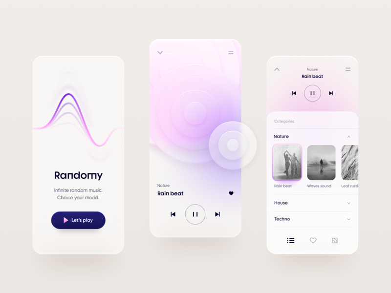 Random player flat mobile clean minimal graphic design design app touchflow ux ui