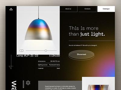 Lamps landing landingpage simple design black creative concept ecommerce shop light lamps minimal flat clean website touchflow design web ux ui