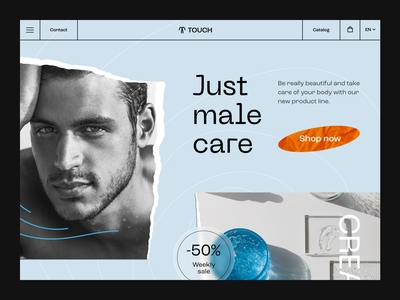 Cosmetics for men style minimal care male men cosmetics concept uxdesign website design website site hero page web page webdesign web ui ux touchflow design