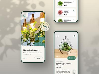 Plants shop app uxdesign uidesign application nature natural dribble shot mobile shop concept design touchflow app ui ux
