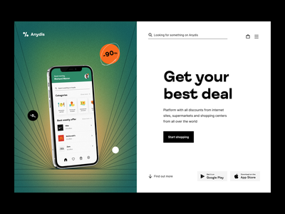 Anydis: discount search platform website web productpage discount app application mobileapp heropage productdesign product