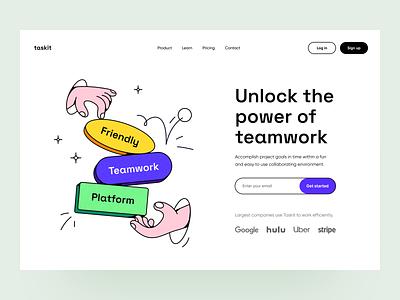 task manager platform: home page landing landing page task manager product design illustration product product page ux ui website web design web