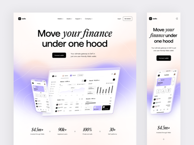 DeFi wallet: product page application app design app ux design ui design ux ui web landing design landing page landing product design product page product web design web site defi site defi wallet defi