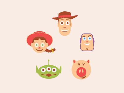 The Gang illustration animated alien hamm jessie buzz woody movie pixar disney toy story