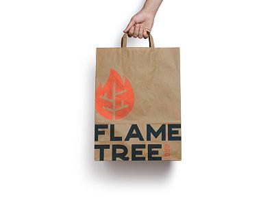 Flame Tree Takeout logo daily logo challenge rebrand branding fire bag food disney barbecue flame tree animal kingdom