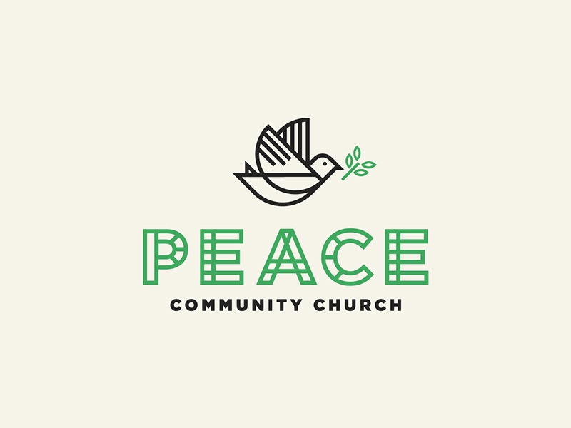 Peace daily logo challenge fly bird geometric line art branding logo peace dove church