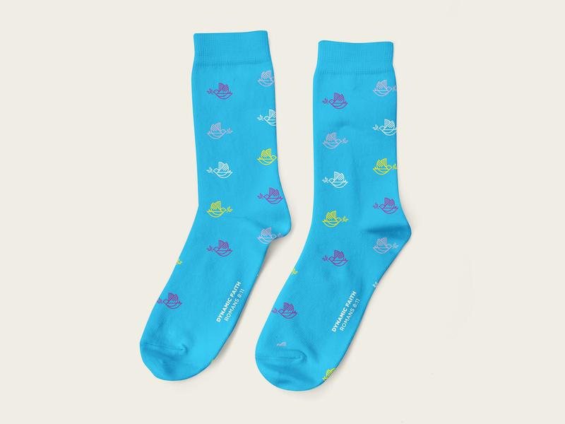 DYNAMIC FAITH geometric line art cotton graphic design apparel design peace dove faith socks