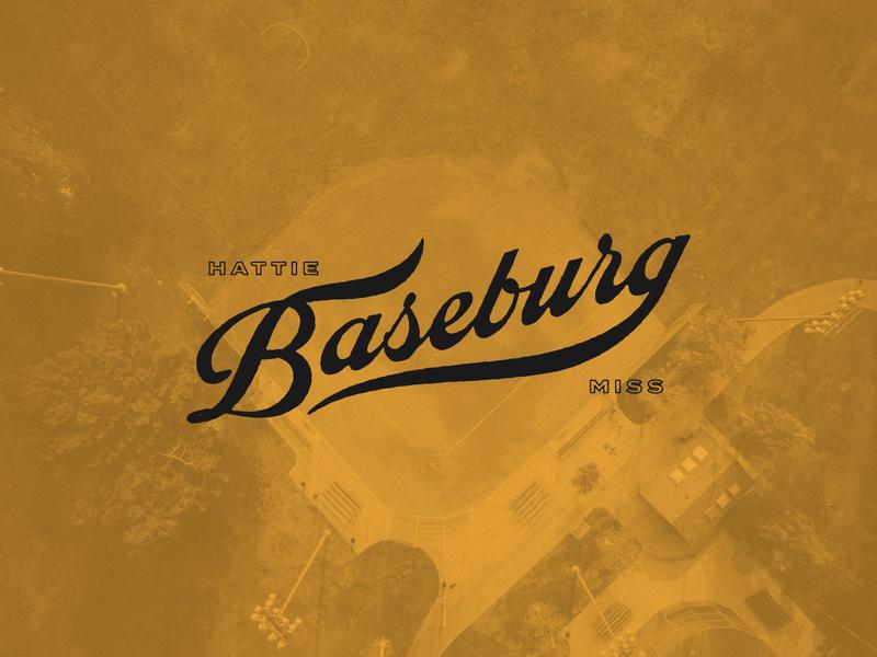 BASEBURG lettering typography script sports south hattiesburg mississippi baseball