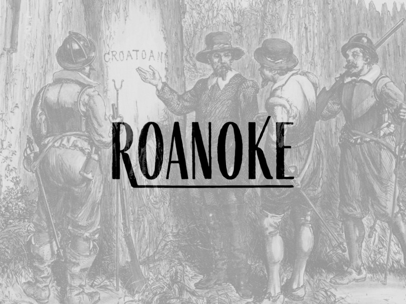 ROANOKE settlers native americans mystery north carolina usa logo wordmark colony