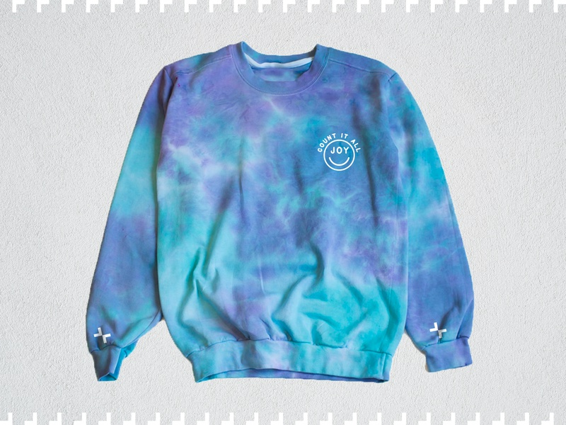 JOY fashion badge 90s tie dye sweatshirt joy smile apparel clothing fixion