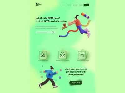 PETZ LANDING PAGE logo illustration illustrator app minimal web ux ui design branding