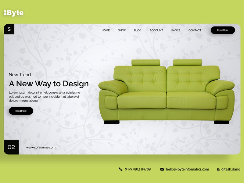 Sofa Banner Design website app flat ux web ui design