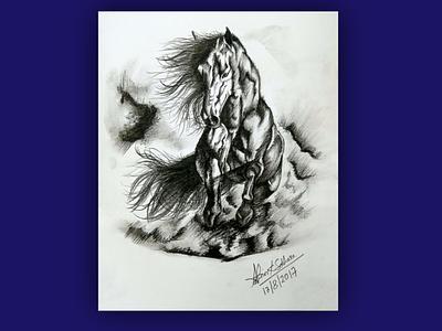 Black Beauty realistic inspiration traditional pencil illustration beautiful elegant majestic powerful poster drawing animal white black dark sketch hand drawn hand art horse