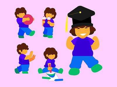 A kids' UI character design project cartoon product design art user interface illustration mascot avatar illustrator branding character art character design fun simple kid children cute minimal illustration design ui