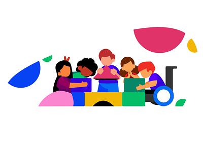 A kids' illustration project colorful children ui kids ui kids characters characters child joy playhouse cute playing children kids ui branding art simple minimal illustrator illustration design