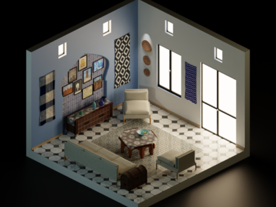 Moroccan waiting room 3dart blender isometric art