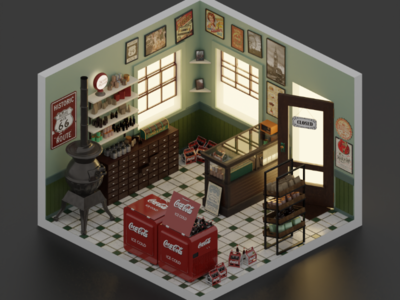 Old corner shop blender isometric corner shop