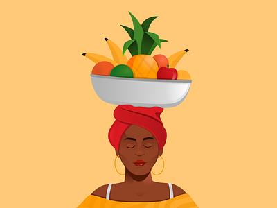 Cartagena  Ilustracion 01 girl illustration fruit illustration colombia caribean black people fruits cartagena