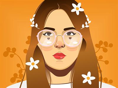 Girl Illustration women in illustration women girl illustration flower nature yellow colombia girl vector illustration