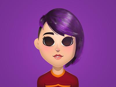 Cutetoons Girl 04 girl character girl purple hair vector coreldraw illustration
