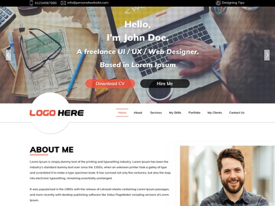 Personal Website Template ux ui design