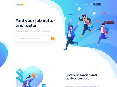 jobest landing page website ux illustration ui design