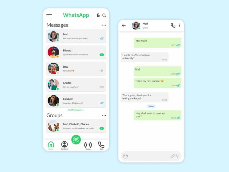 WhatsApp Redesign messenger messages messaging app messaging green new 2020 mobile app design mobile ui whatsapp redesign whatsapp app ux design