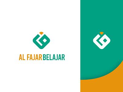 Logo for Al Fajar Belajar foundation school yellow white green modern simple brand corporation ux vector ui logo illustration design creative clean branding brand identity