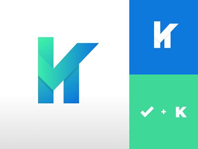 Checklist and K masculine modernlogo modern cleanlogo green blue gradient 3d graphic design ux vector ui logo illustration design clean creative branding brand identity