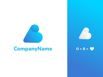 Letters O, B and a love shape logotype letter water sea shape love blue white gradient ux vector ui logo illustration design creative clean branding brand identity