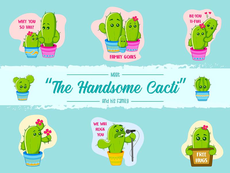 Cactus Sticker Set cute cartoon cactuses vector emoji vector sticker cartoon sticker cartoon emoji emoji cactus vector stickers