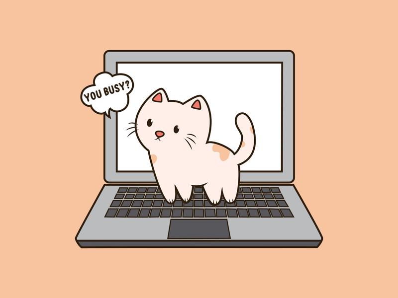 Busy Cat | Cat on laptop cat logo cute cat pet working cat cat on laptop cat cute cartoon vector illustration cartoon emoji cartoon vector