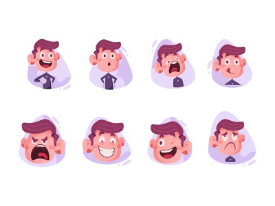 Boy Sticker Set cartoon sticker boy illustration set stickers design cute cartoon cartoon vector
