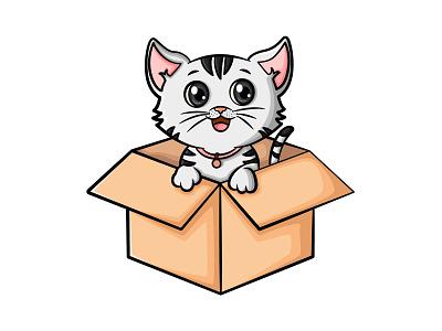 Illustration Of Cat cute cartoon vector illustration cartoon animal cat stickers illustration design vector