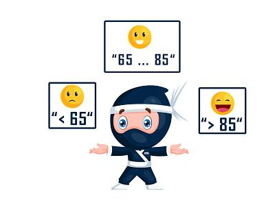 Ninja Character Design For Website vector illustration website ninja stickers cute cartoon illustration design cartoon vector