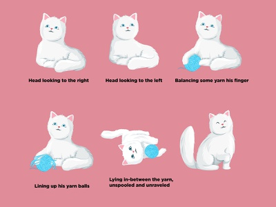 Illustration Of Cat Poses set animal cat cartoon sticker vector illustration stickers illustration design cartoon vector