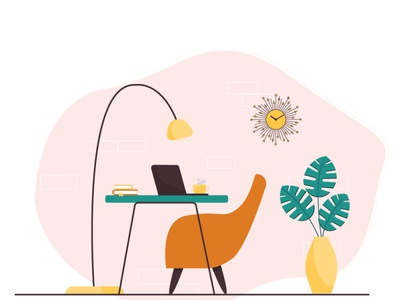 workspace minimal flat design illustration