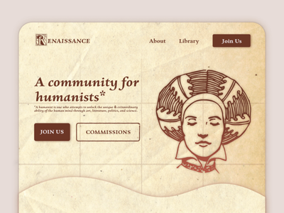 Renaissance UI Landing Page art history renaissance affinitydesigner website branding web ui design illustration