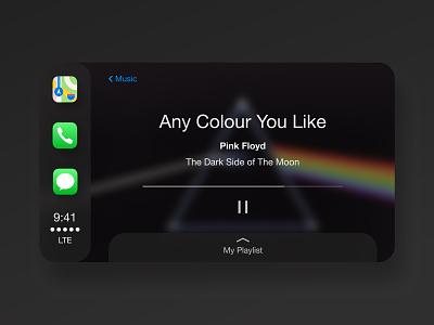 Apple Car Interface Iteration. apple carplay car music player pink floyd figma flat ux ui minimal design app