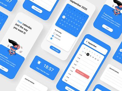 Modular calendar concept calendar materialdesign illustration figma ux ui minimal design app